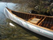1965 Old Town Otca canoe - Image 2 of 3 This 1965 Old Town Otca canoe is 16ft long. It has had some rib and gunwale repair, new canvas and finishes.