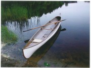 Lakefield All Wood Canoe - image 1 of 1 Lakefield Canoe Co. 16 ft. Wood canoe built in the early 1900's in Lakefield, Ont. near Peterborough. Found in the Finger Lakes region of NY, outside, turned over, in very rough condition. Very fragile, but stayed together with duct tape on top of my car on an extremely windy day on I-90. Work included new stems, gunwales, decks, some ribs and planking, seat and caning and painting (may have been painted inside originally).